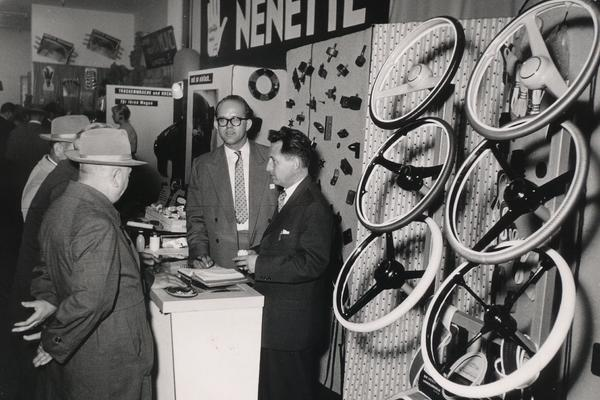 Foam for steering wheel covers was presented at a trade fair in the 1950s .