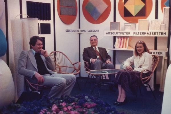 Our trade fair team, Gerlinde Weyl‐Drache, Gustav A. Emmerling and Frank Drache, in the 1970s.